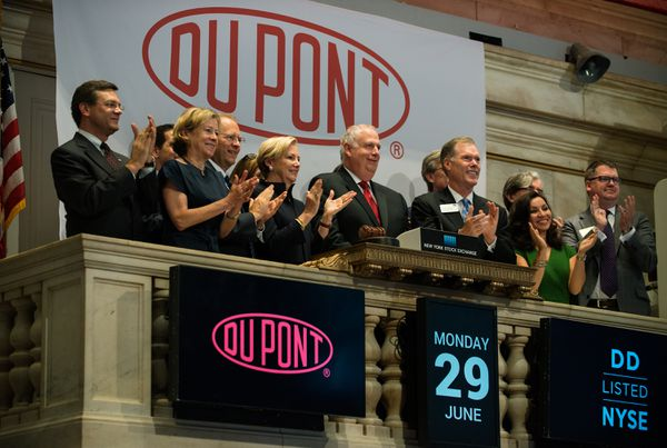 """DuPont at the stock exchange. Get it? """"Dow""""? It's a different kind of """"Dow"""" but get it?"""