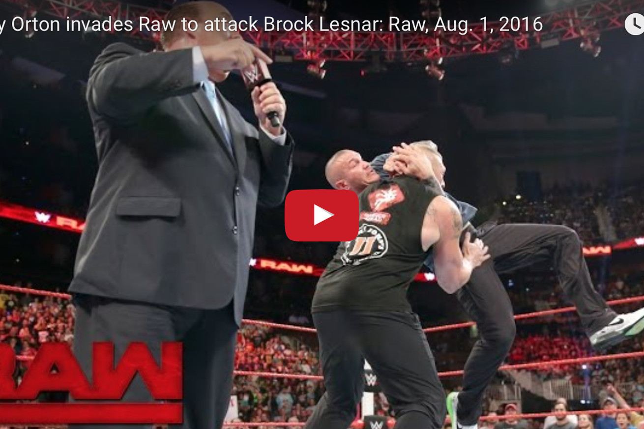 community news, Video: Still huge Brock Lesnar returns to WWE RAW, gets walloped by Randy Orton