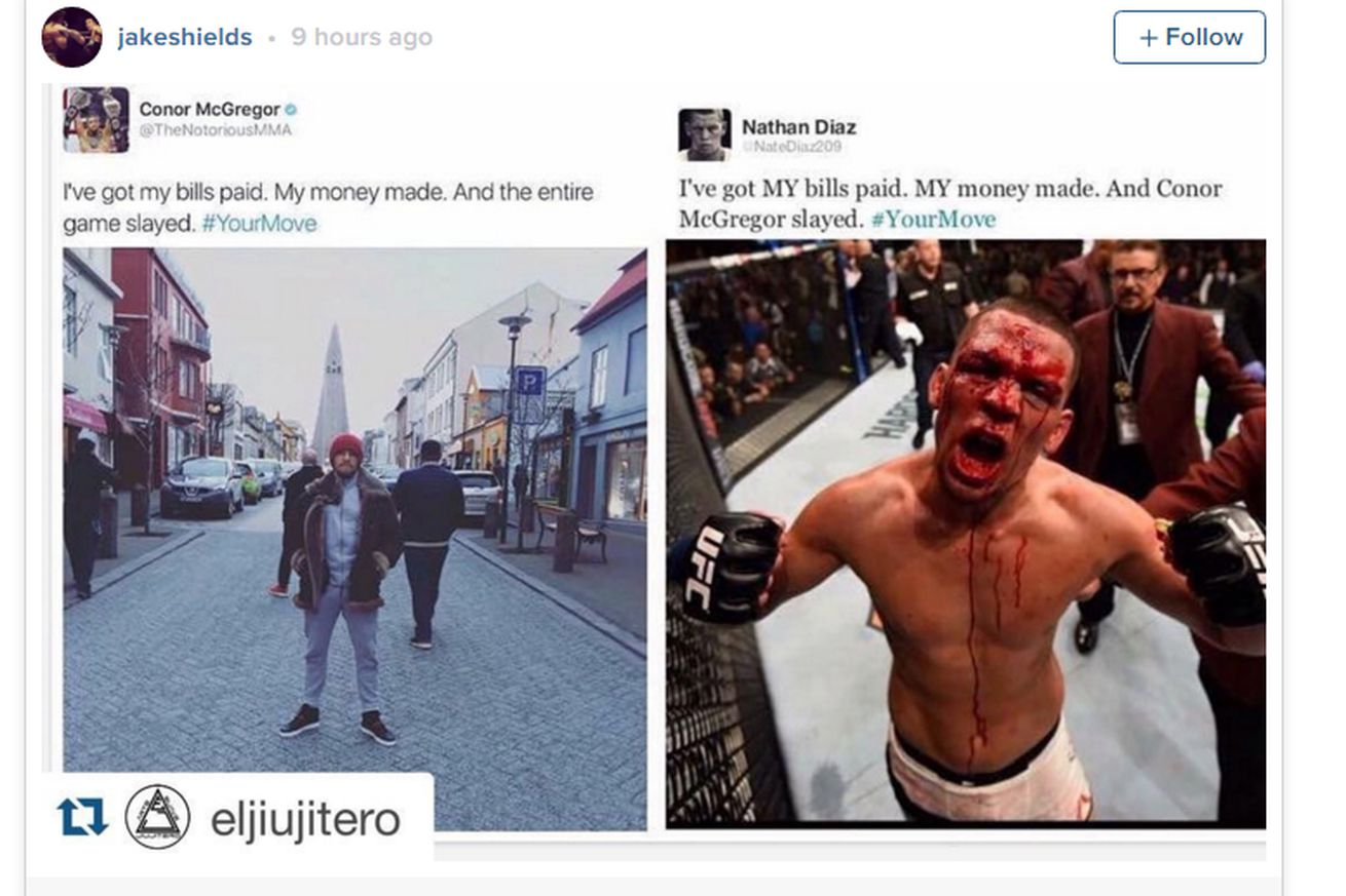 Pic: Nate Diaz beats Conor McGregor (again), this time on social media