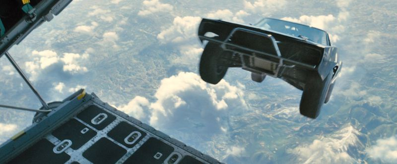 This is a car being dropped out of a plane. (Furious 7/Universal)