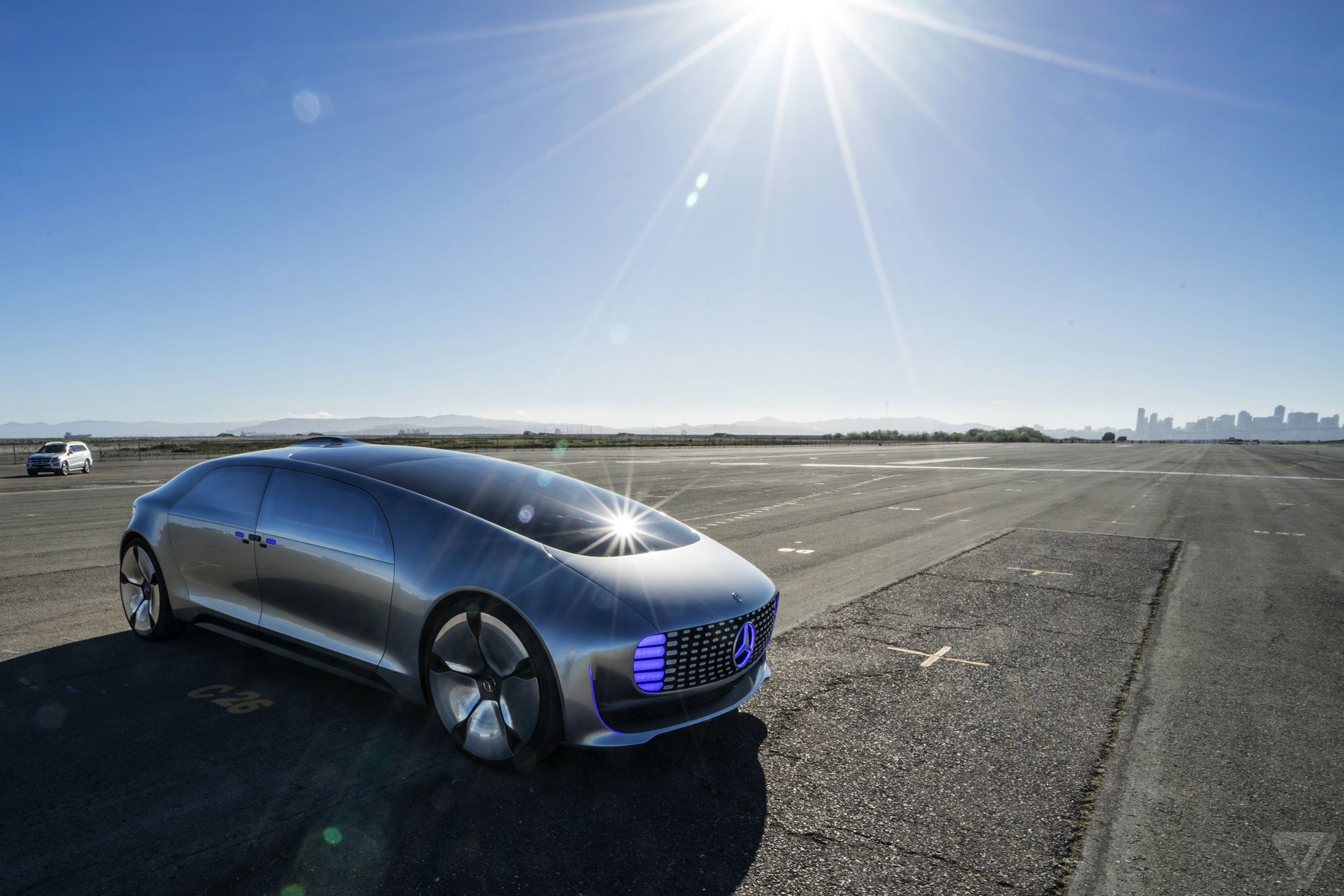 riding in the mercedes benz f 015 the verge