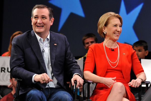 Ted Cruz with his endorser Carly Fiorina.