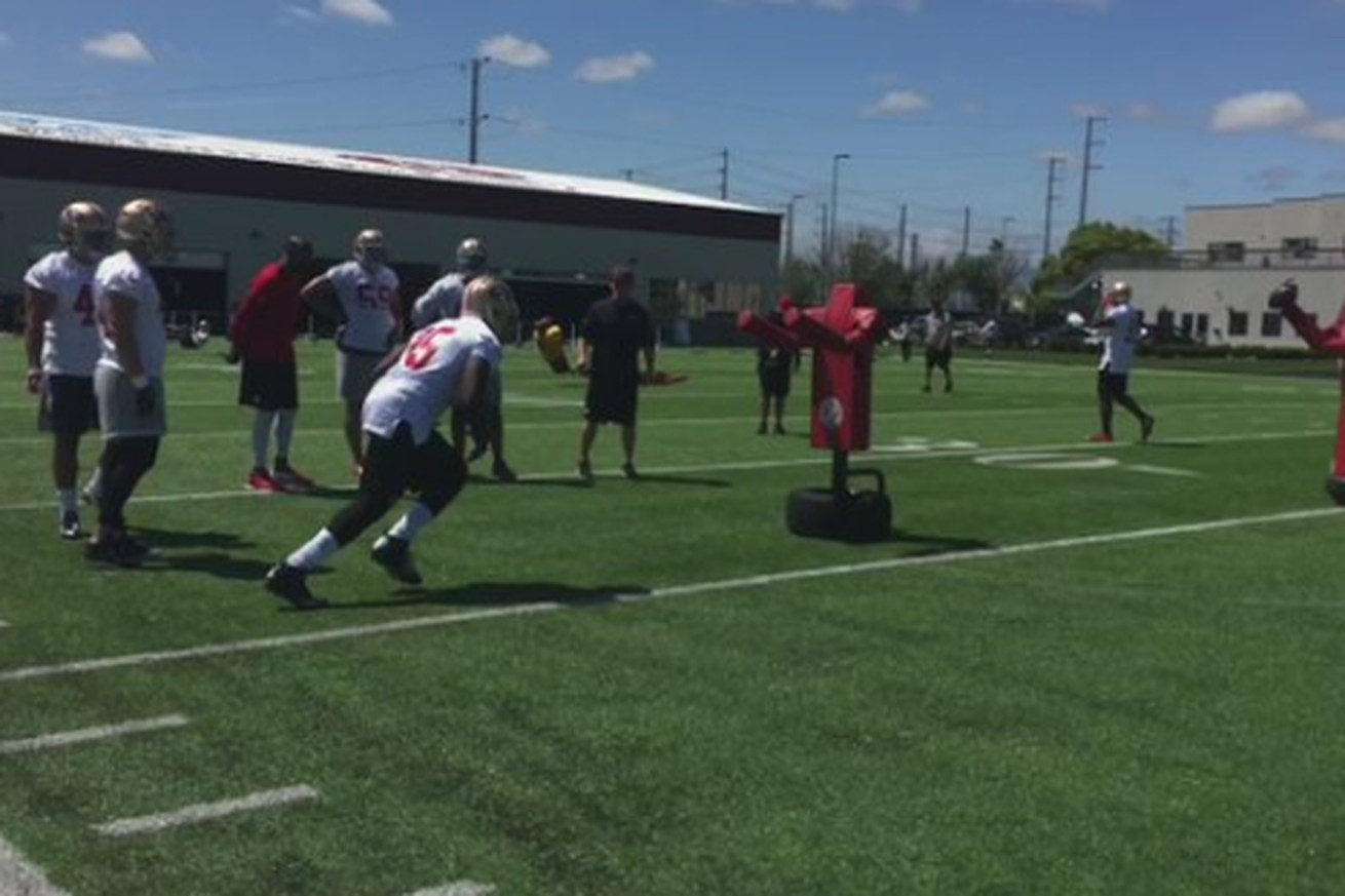 Tank Carradine showing off nice pass rush move in drill