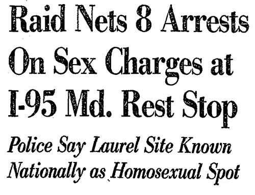 clipping from a police raid on gay men in the 1980s