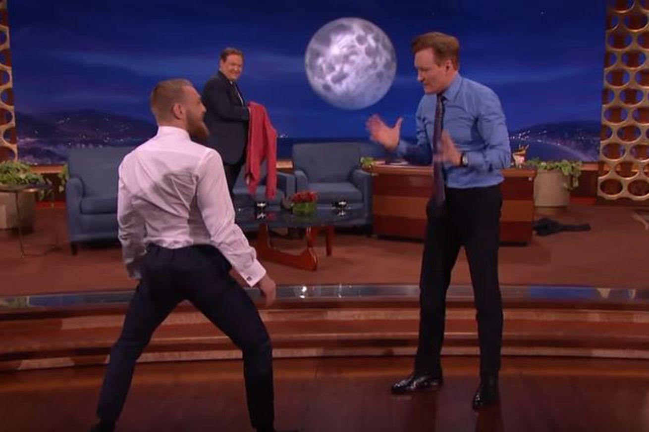 community news, Video: UFC 196 headliner Conor McGregor scorches Conan OBrien with Capoeira kick