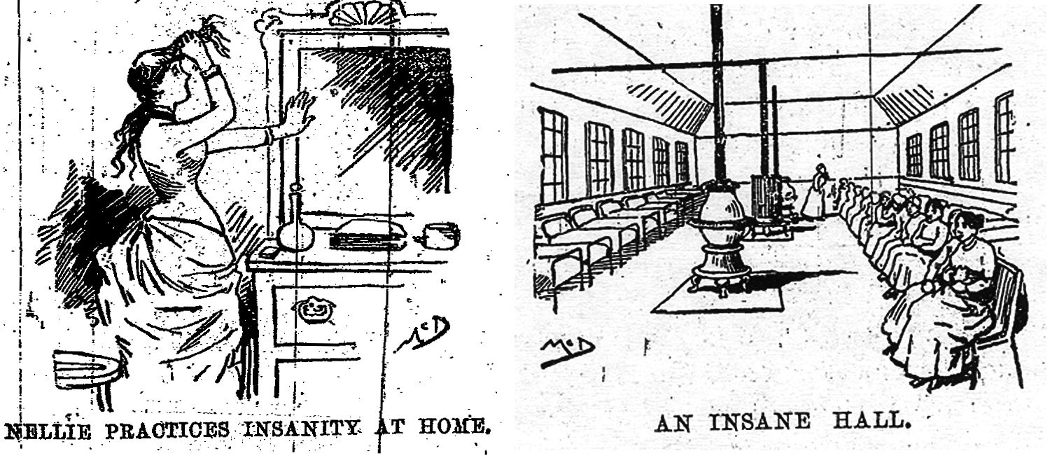 Two images from Nellie Bly's book about an insane asylum.