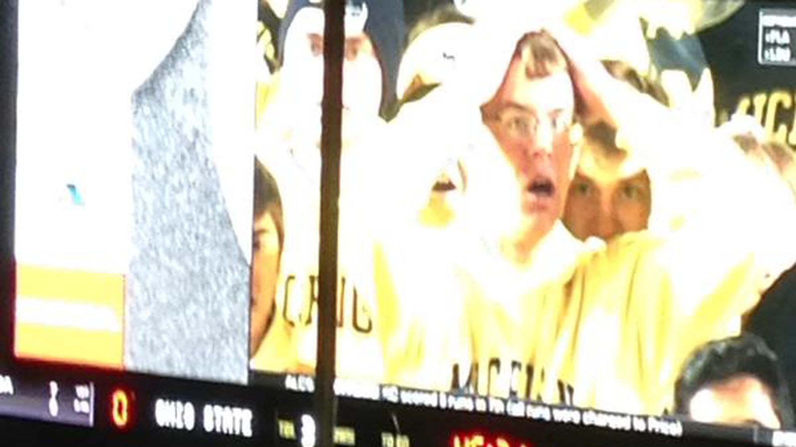 Ohio State paused its video board on the sad Michigan fan