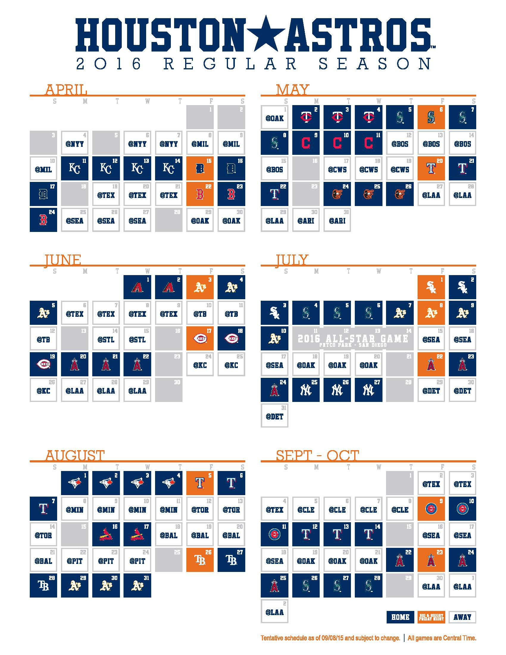 April Calendar Houston : Astros release schedule the crawfish boxes