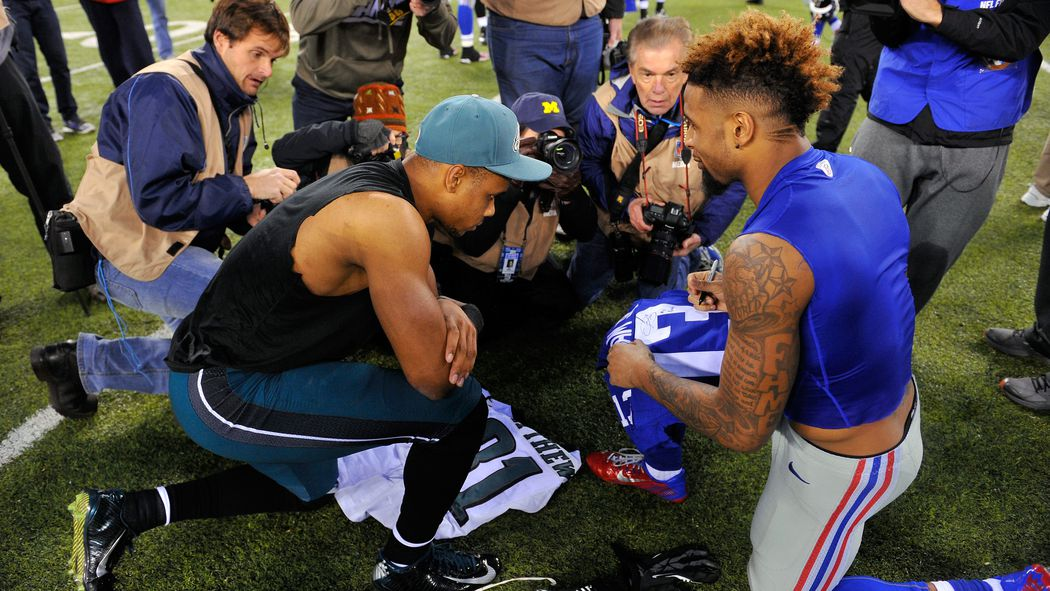 NFL Jerseys Nike - Odell Beckham Jr., Jordan Matthews exchange jerseys after Eagles ...