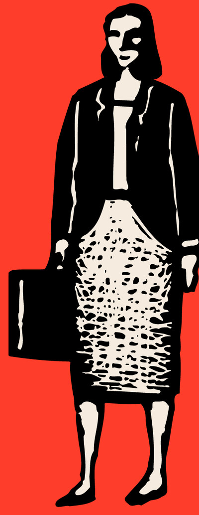 Illustration of woman with a suitcase.