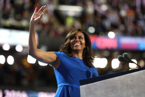 Michelle Obama addresses the DNC.