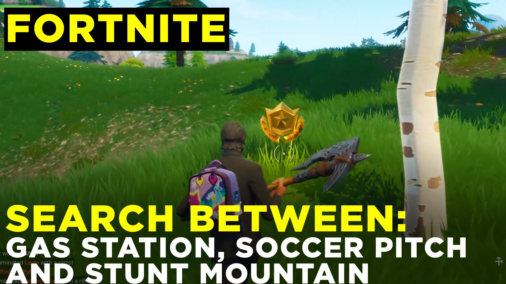 Search Between A Gas Station Soccer Pitch And Stunt Mountain Fortnite Challenge Location Guide