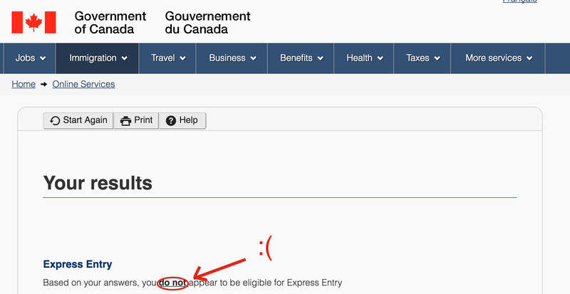 Screenshot of a Canadian government website telling the author that she does not, in fact, qualify for Express Entry into the nation of Canada.