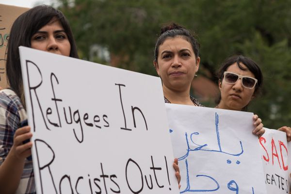 Pro-refugee protesters in New York in September.