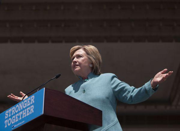 Clinton in Atlantic City on Wednesday.