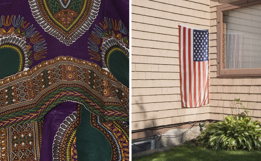 Left: Purple, green, yellow + orange pattern fabric. Right: An American flag hanging from a house.