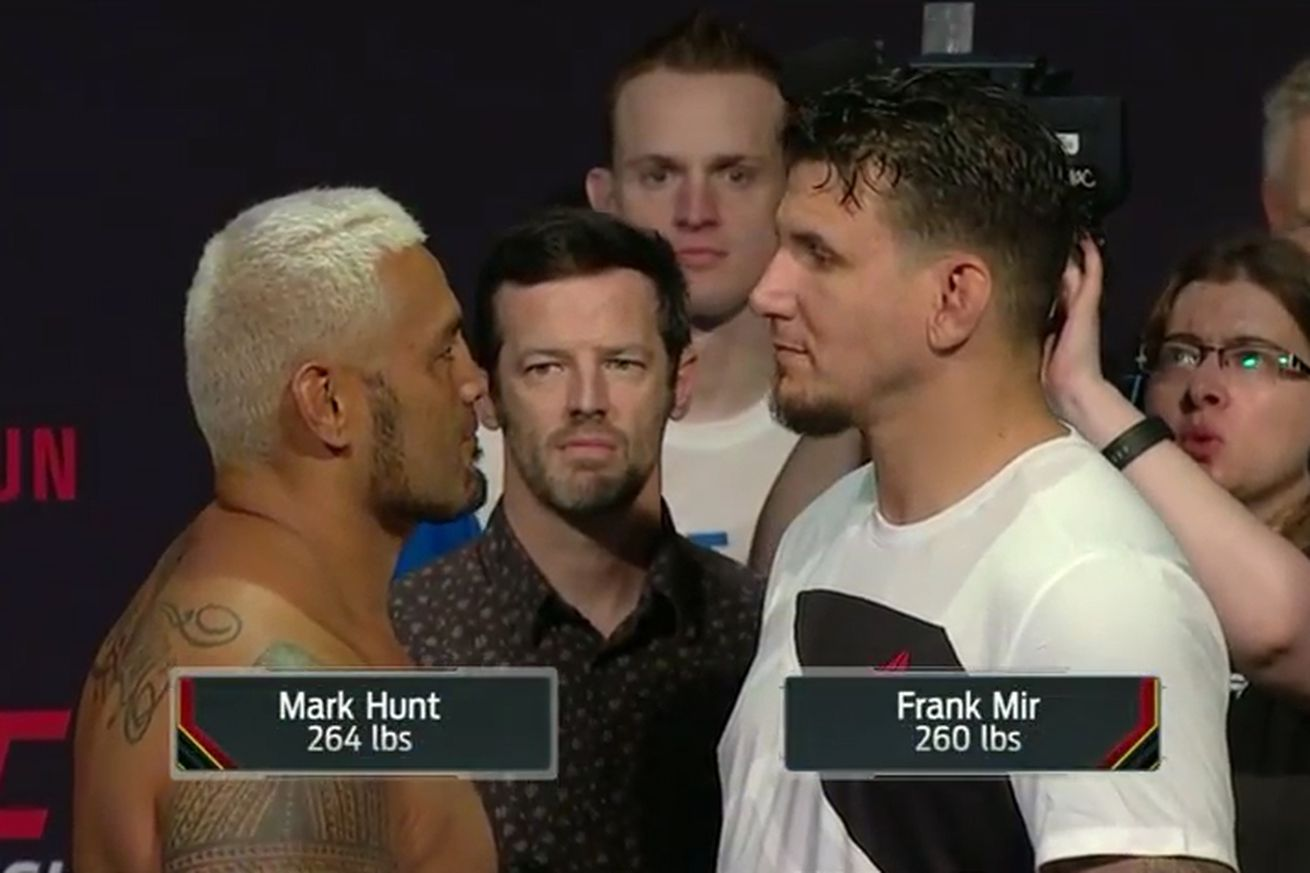 community news, Mark Hunt vs Frank Mir staredown pic, video from UFC Brisbane weigh ins