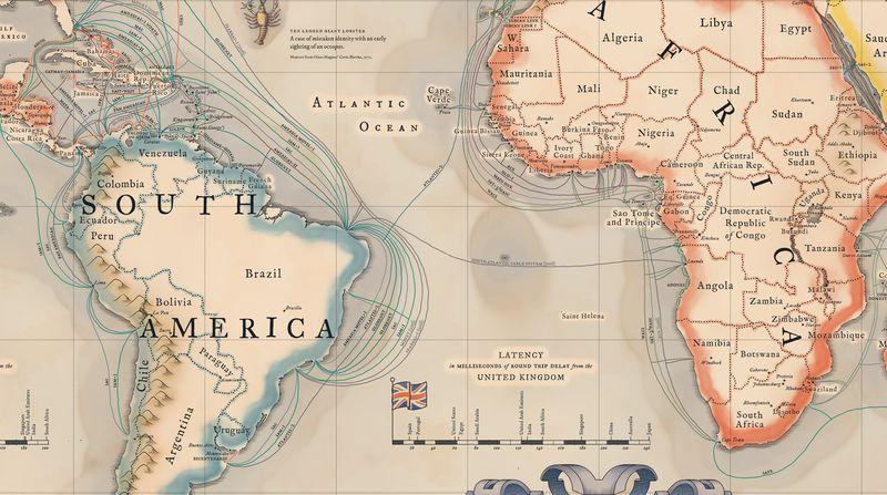 Mapa de los cables submarinos que conectan a Internet