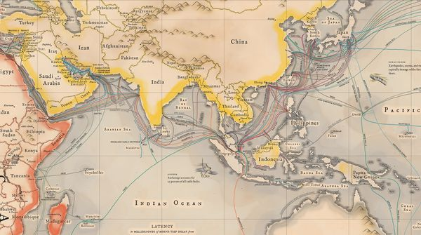 Submarine cables in Asia.