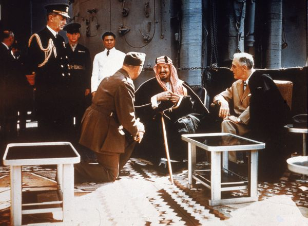 US President Franklin Delano Roosevelt, right, meets in 1945 with Saudi King Abdulaziz, who spent decades conquering and unifying Arabian tribes into a country he named for himself. He died in 1953; ever Saudi king since has been one of his first generation of sons. (Hulton Archive/Getty Images)