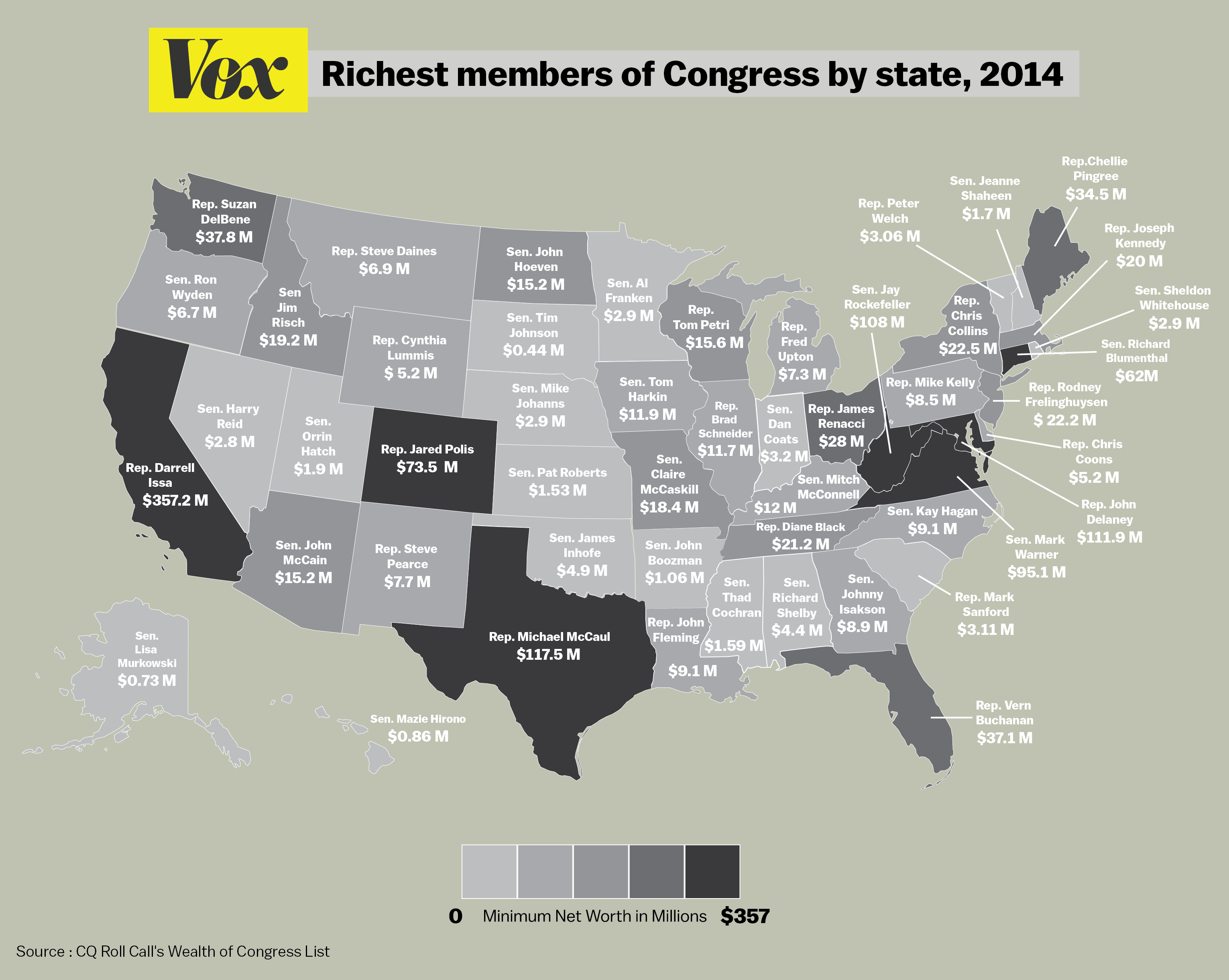 map the wealthiest member of congress in each state