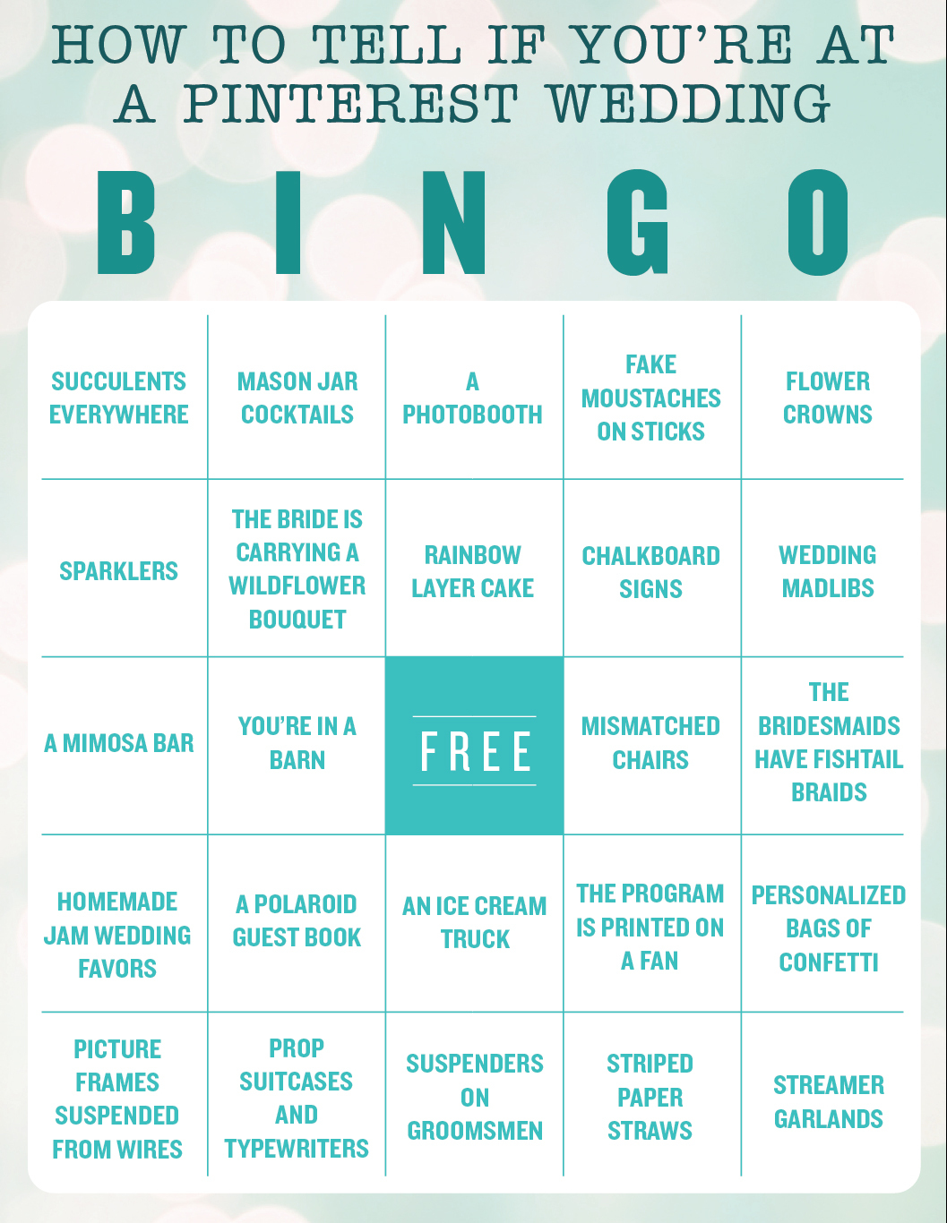 Pinterest Wedding Bingo: The Ultimate Tweeness Test - Racked NY