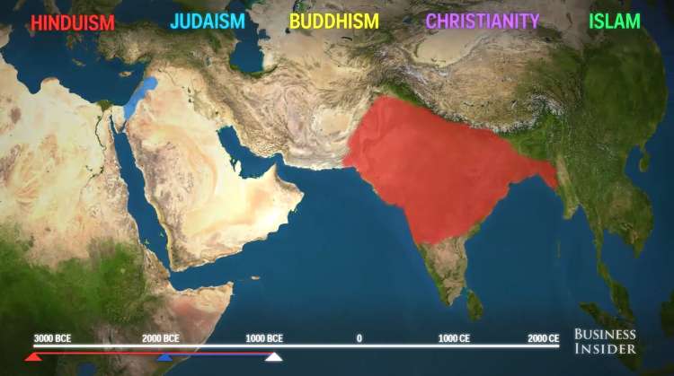 watch the incredible spread of the worlds 5 major religions vox