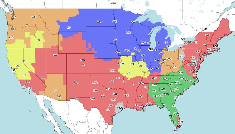 St. Louis Rams Vs. San Francisco 49ers: NFL Week 8 Broadcast Map ...