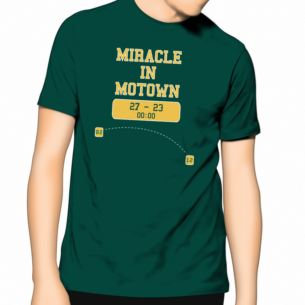 New apc t shirt miracle in motown celebrates packers for Apc white t shirt