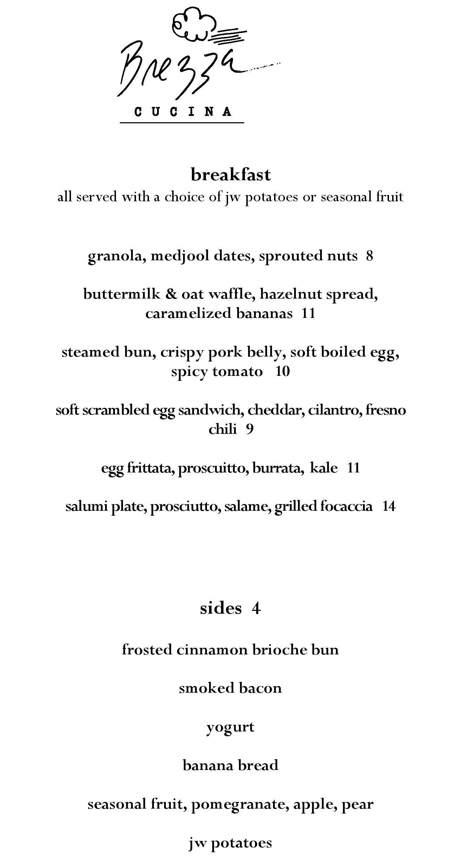 Brezza cucina adds breakfast scope the menu eater atlanta for Z cucina menu