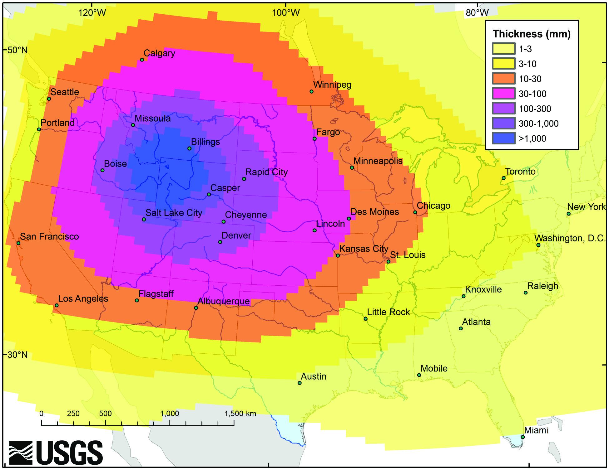 yellowstone super-eruption ash