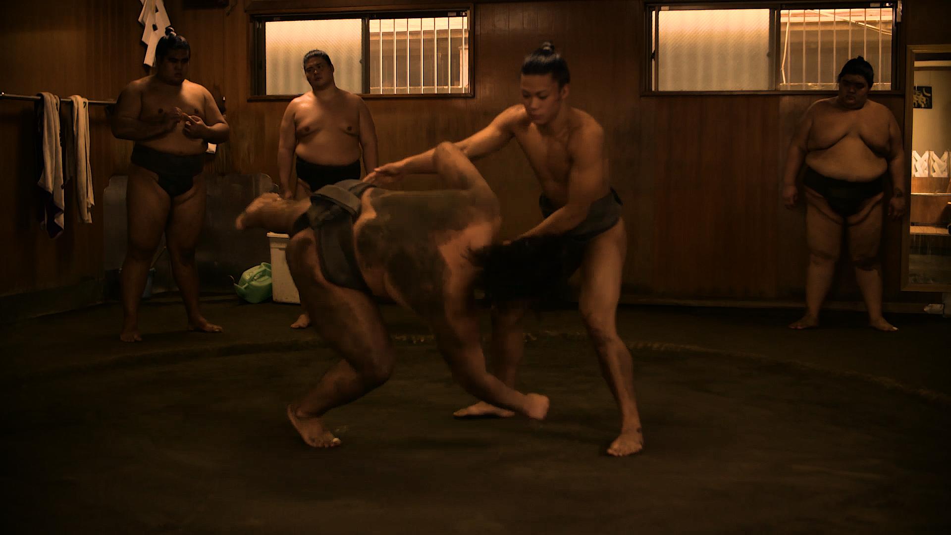 Sumos fighting, as one is thrown