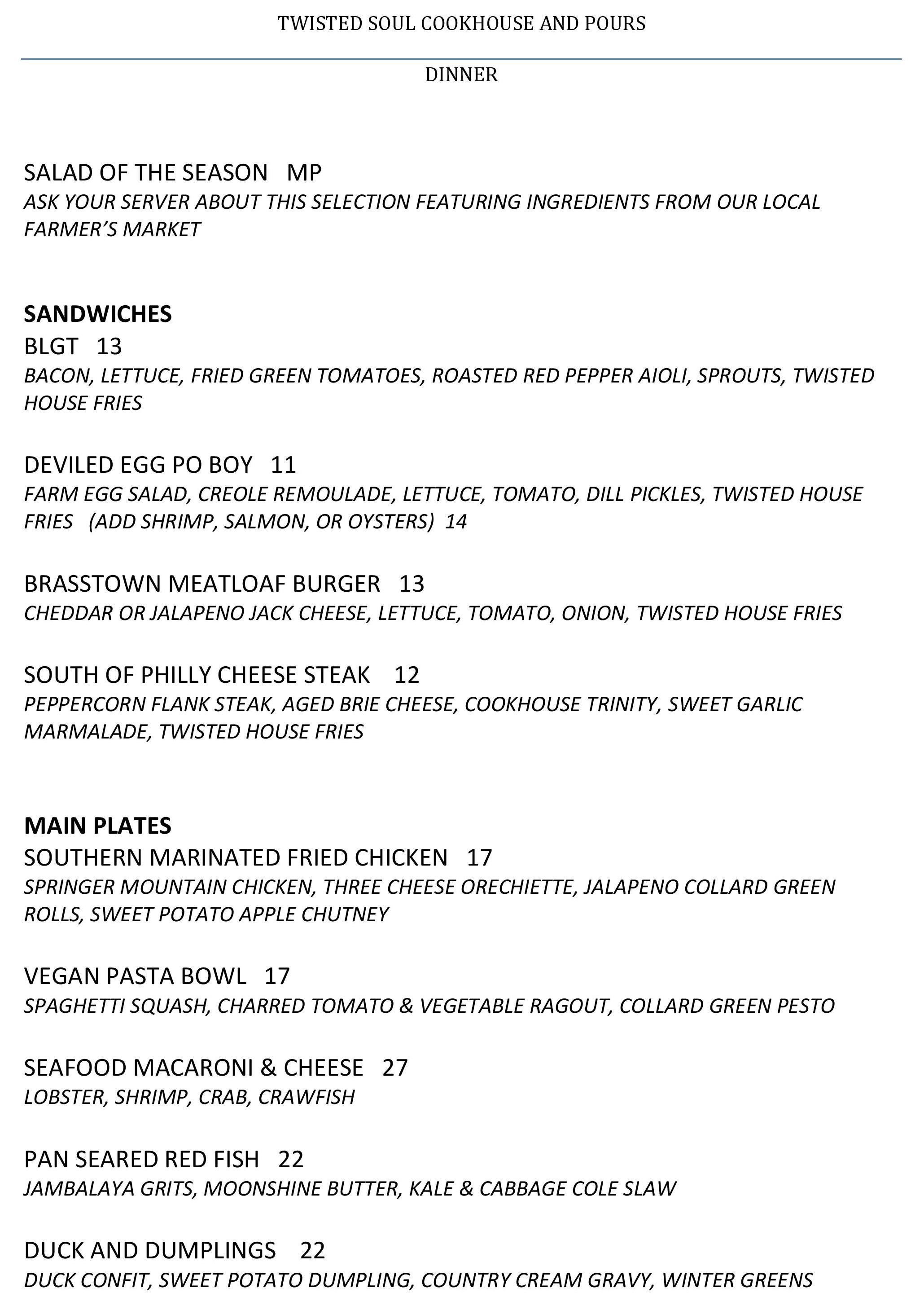 here's the menu for twisted soul cookhouse & pours, certified open