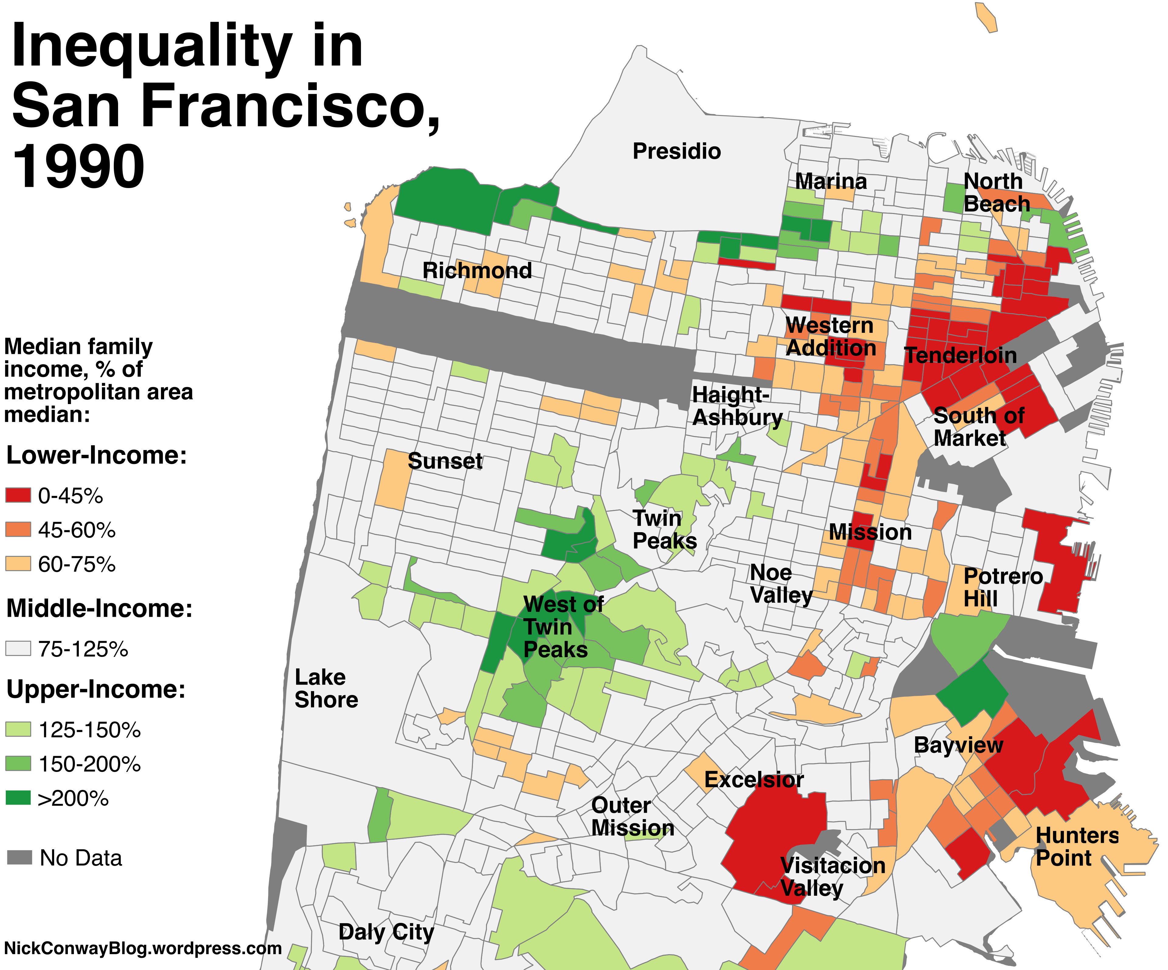 a map of which sf neighborhoods became richer since 1990 curbed sf. Black Bedroom Furniture Sets. Home Design Ideas