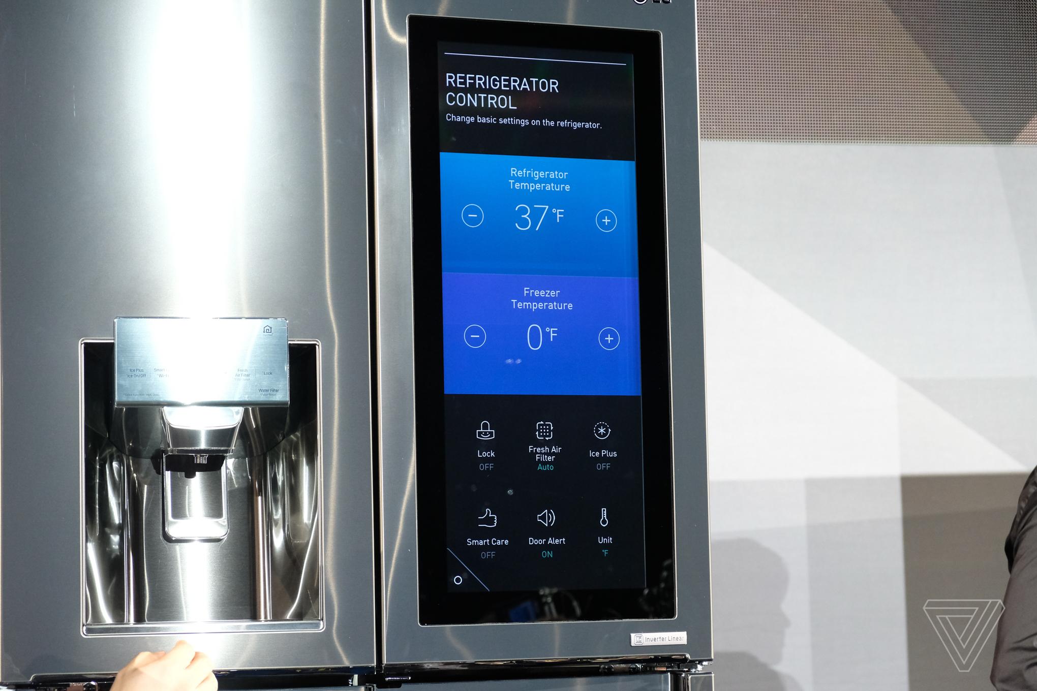 lg put webos and amazon alexa on a fridge the verge. Black Bedroom Furniture Sets. Home Design Ideas