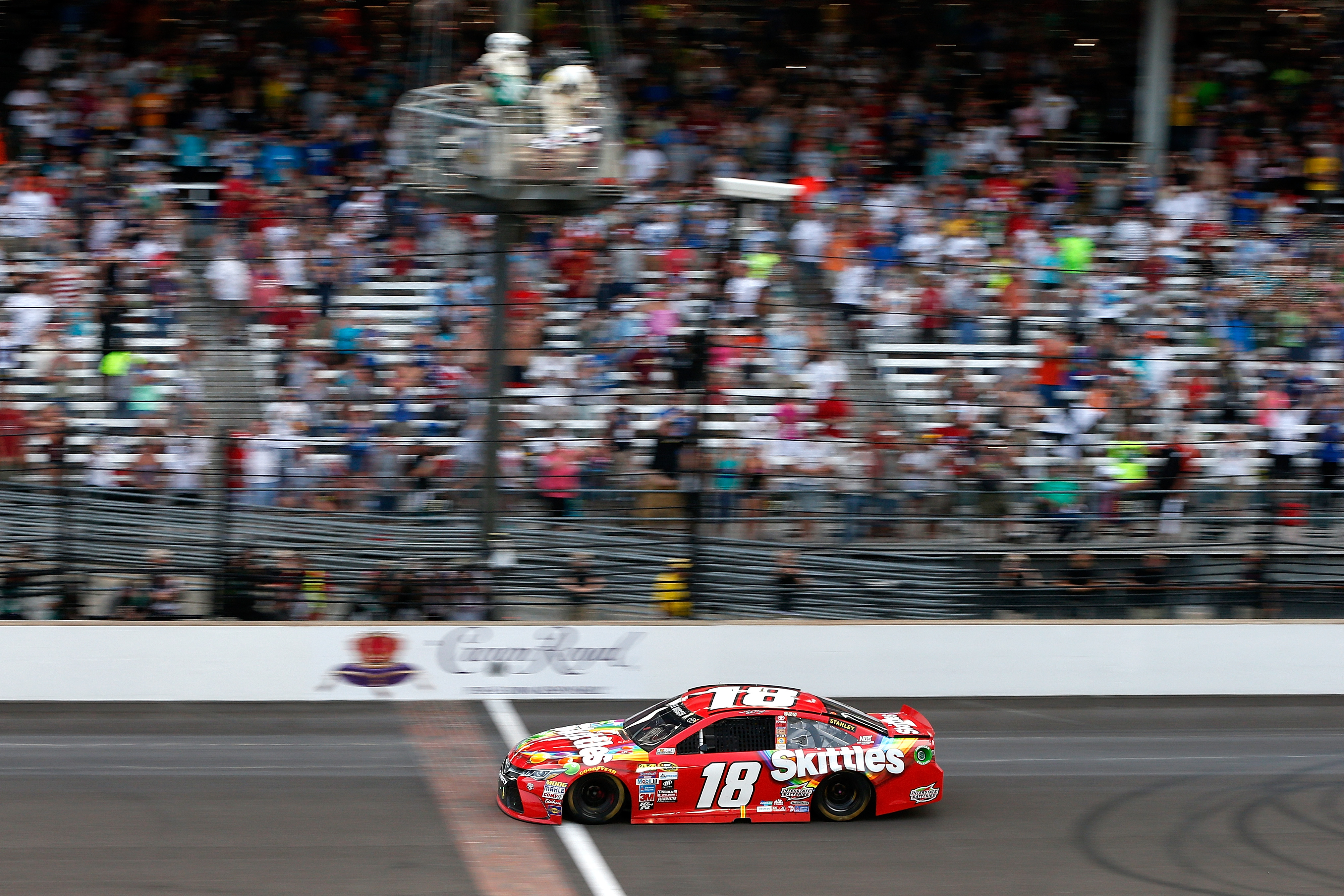 The stands were not full in Indianapolis as Kyle Busch wins at the Brickyard.