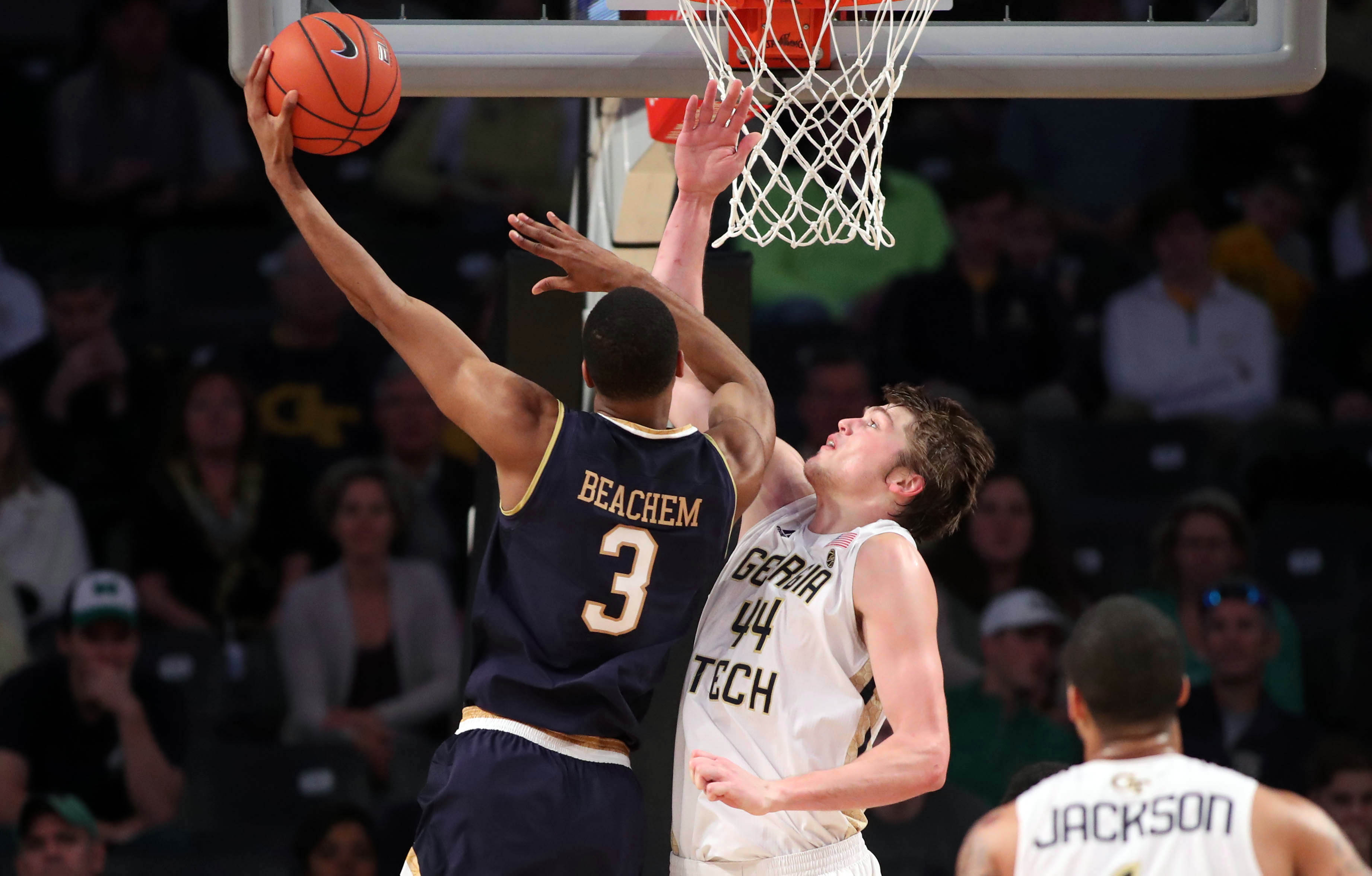 Georgia Tech upsets Irish 62-60 as Okogie scores at buzzer