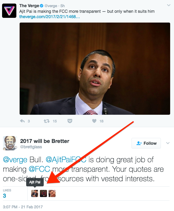 ajit pai faves a tweet hating on a verge piece