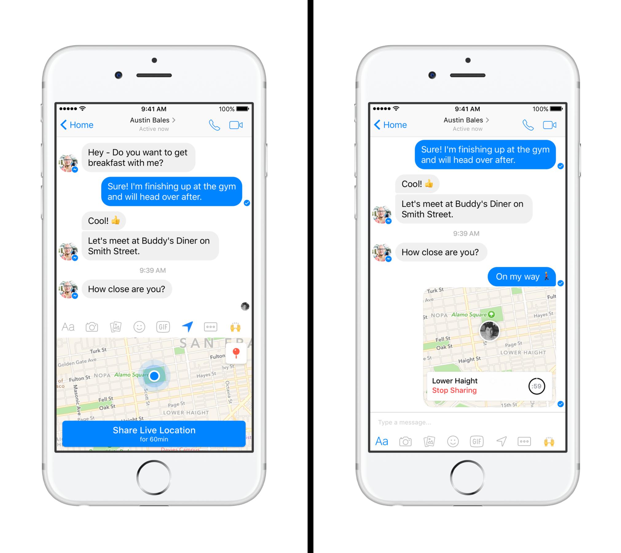 Facebook's Messenger app adds live location-sharing