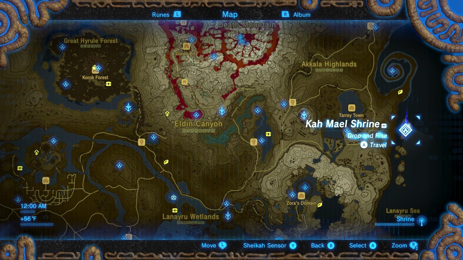 Zelda breath of the wild guide kah mael shrine location for Bureau zelda