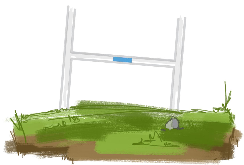 field with bent goalposts