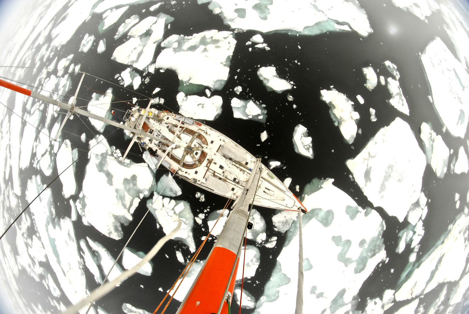 A masts-eye view of the Tara research vessel navigating through the ice. Photo by Andres Cozar