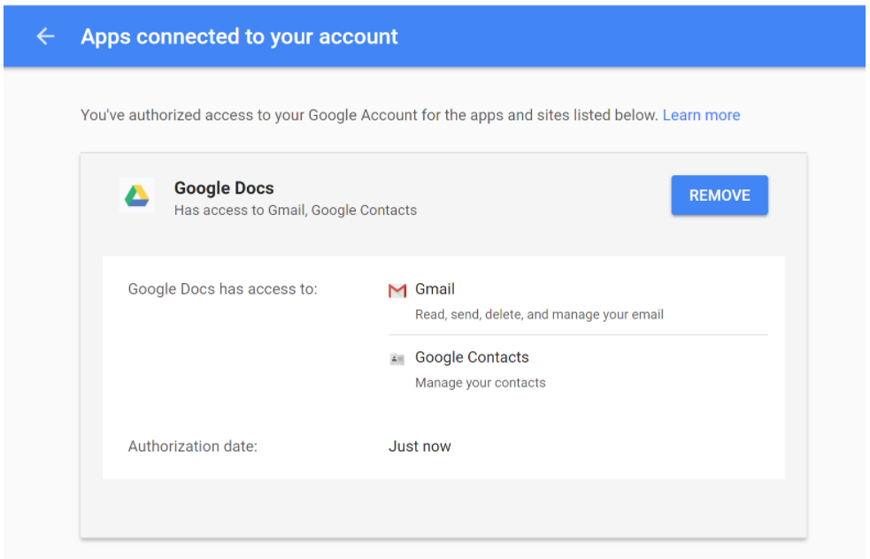Google Docs phishing access