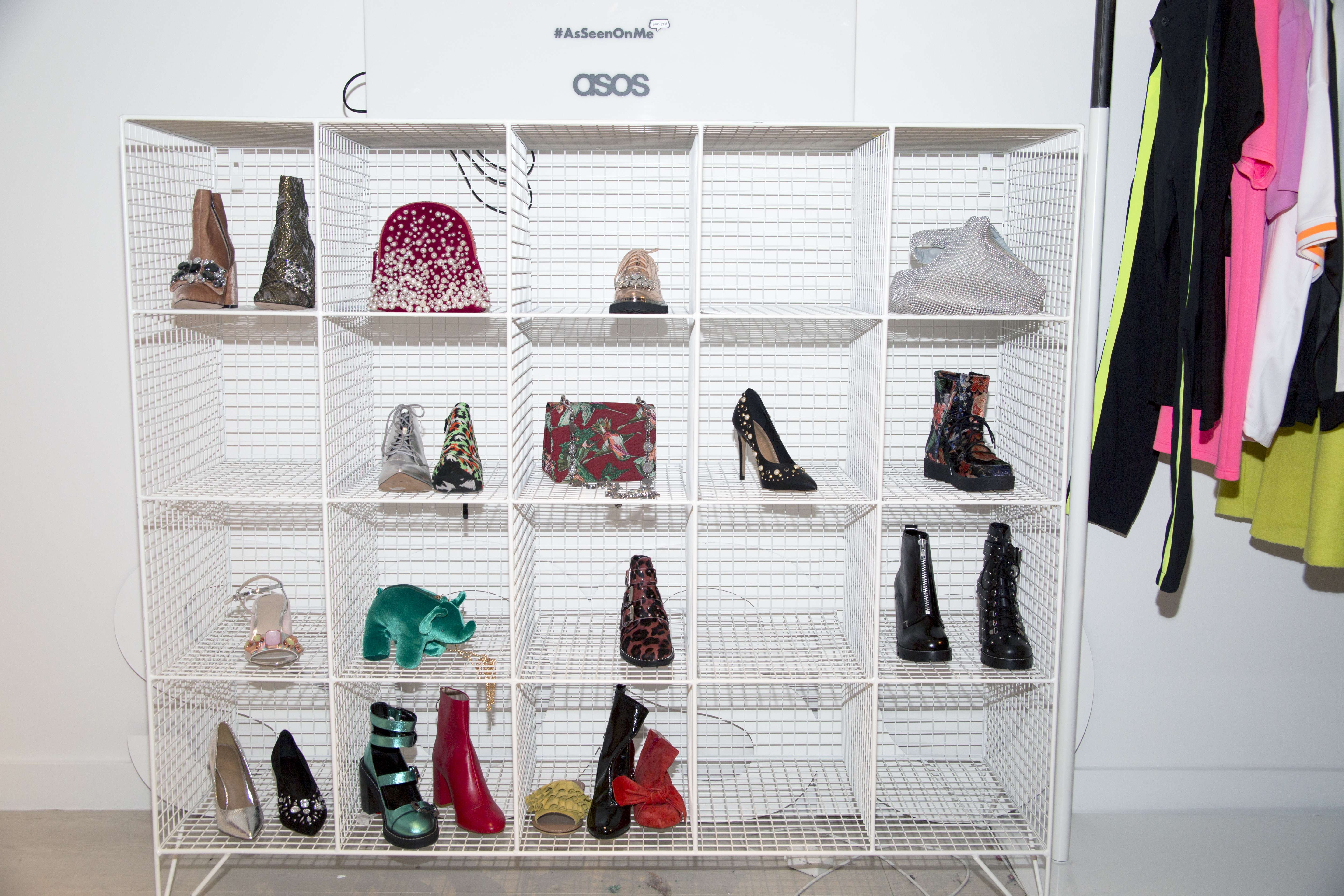 Cubbies with shoes and bags at ASOS headquarters.